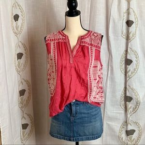 Lucky Brand Embroidered Blouse Women's Sz L